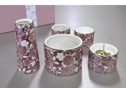 ■ゆい花 佛具5点セット (陶器製) 丸型香炉 ワイン