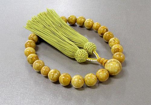 ●男性用片手念珠 象牙石22玉共仕立 正絹頭房 桐箱入