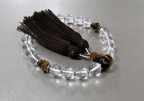 ●男性用片手念珠 水晶20玉虎目石(骸骨彫)髑髏彫刻仕立 正絹頭房 桐箱入 創作念珠