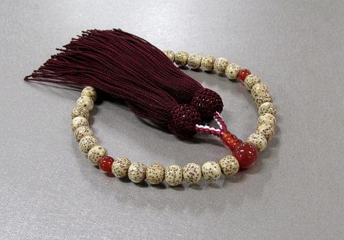 ◆女性用片手念珠 星月菩提樹赤瑪瑙仕立 人絹頭房