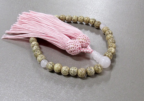◆女性用片手念珠 星月菩提樹ローズクォーツ仕立 人絹頭房