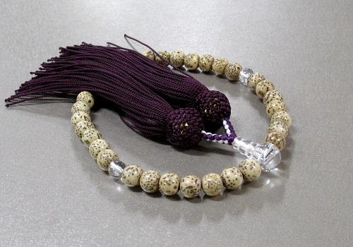 ◆女性用片手念珠 星月菩提樹水晶仕立 人絹頭房
