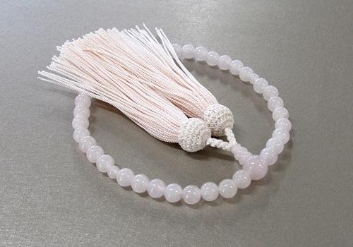 ◆女性用片手念珠 紅水晶共仕立 正絹頭房
