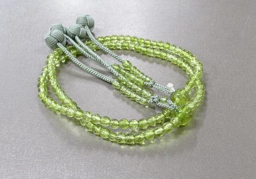 ★振分8寸 花水晶 共仕立 かがり梵天 本連108珠 緑