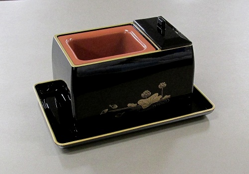 ★5寸香炉 黒(フチ金) 蓮 + 切手盆7.0寸 セット