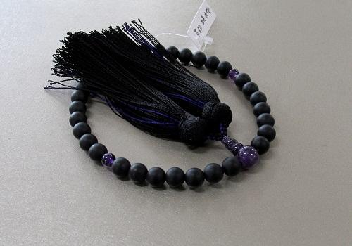 ◆女性用片手念珠 黒オニキス艶消し8�o玉紫水晶仕立 正絹古都房 黒折箱