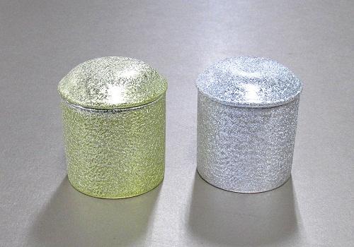 △骨壺・骨壷 骨カメ 金・銀チヂミ 4.0寸×1ケース(4ヶ入)