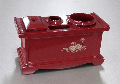 ■1型 朱蓮 仏具容器4点セット マッチ消し壷・線香入れ・ローソク立て・マッチ入れ