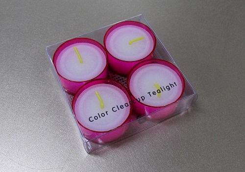★クリアカップティーライト 4個入 ピンク