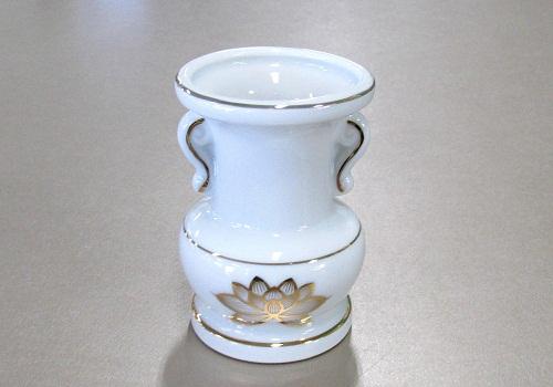 ★花瓶・花立 大玉仏花 3.0寸 白上金ハス×20ヶ入
