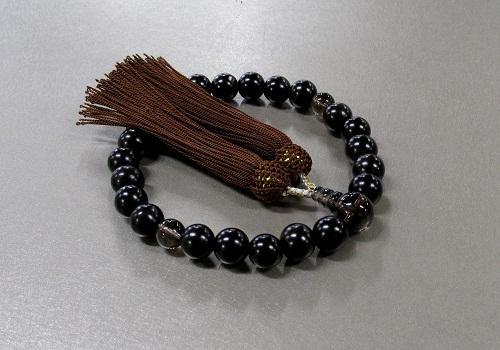 ◆男性用片手念珠 黒檀23玉茶水晶仕立 人絹頭房