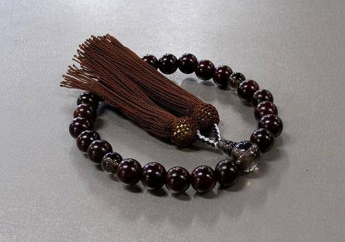 ◆男性用片手念珠 紫檀23玉茶水晶仕立 人絹頭房
