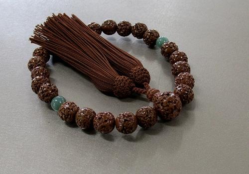 ◆男性用片手念珠 金剛菩提樹23玉 二天印度翡翠石仕立 人絹頭房