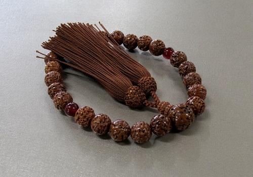 ◆男性用片手念珠 金剛菩提樹23玉 二天瑪瑙仕立 人絹頭房