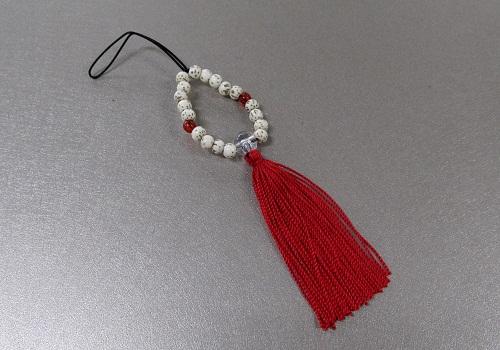 ☆お守り数珠ストラップ 星月菩提樹正絹房 真紅 ※在庫処分特価品