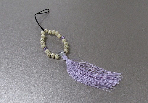 ☆お守り数珠ストラップ 星月菩提樹正絹房 藤 ※在庫処分特価品