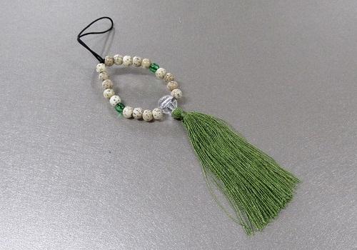 □お守り数珠ストラップ 星月菩提樹正絹房 柳