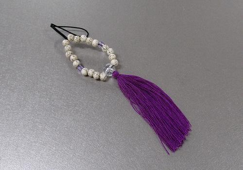 ☆お守り数珠ストラップ 星月菩提樹正絹房 菖蒲 ※在庫処分特価品