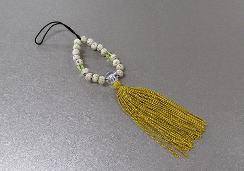 ○お守り数珠ストラップ 星月菩提樹正絹房 金茶