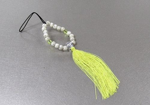 ☆お守り数珠ストラップ 星月菩提樹正絹房 レモン ※在庫処分特価品