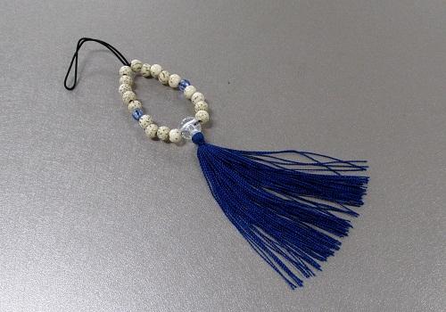 □お守り数珠ストラップ 星月菩提樹正絹房 ブルー