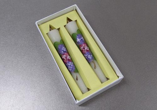 ◆絵ローソク 手描き和ローソク 3号2本入 紫陽花・あじさい
