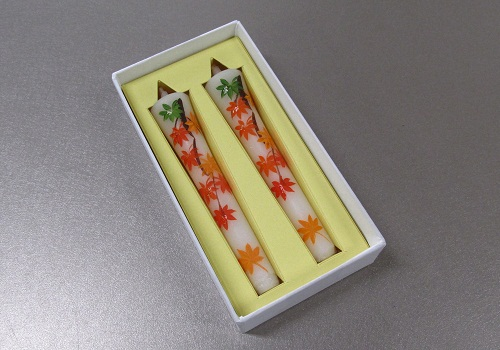 ◆絵ローソク 手描き和ローソク 3号2本入 紅葉