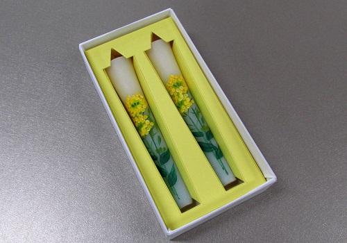 ◆絵ローソク 手描き和ローソク 3号2本入 菜の花