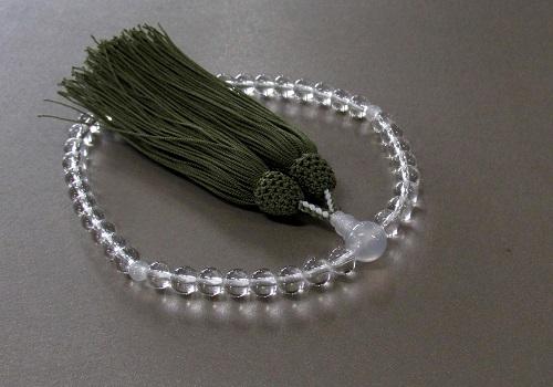 □女性用片手念珠 水晶7�玉紫白瑪瑙仕立 正絹細房