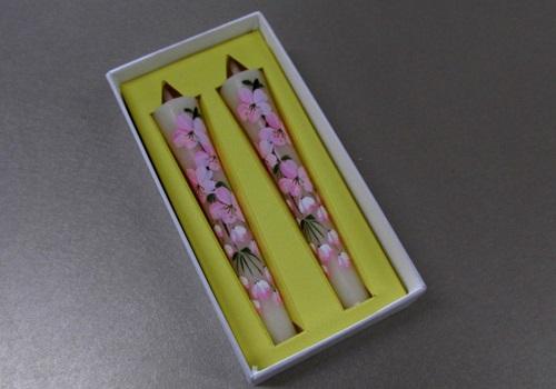 ○絵ローソク 手描き和ローソク 3号2本入 桜 【松本商店】