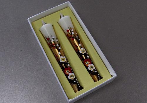 ◆絵ローソク 手描き和ローソク 3号2本入 梅