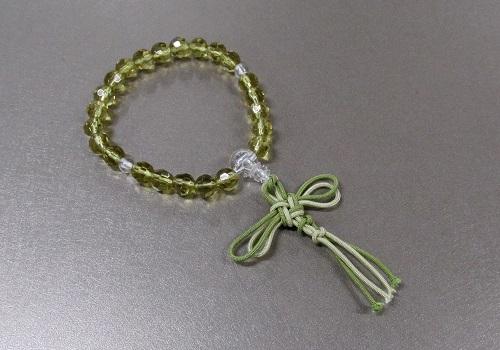 ○子供用念珠 ガラスカットPC水晶仕立 緑