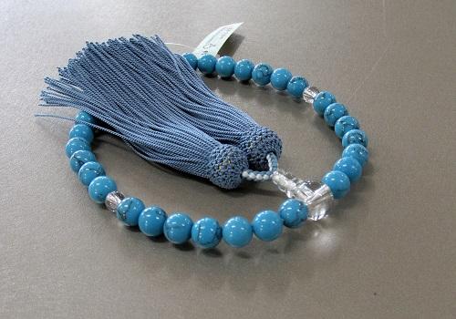 ■女性用片手念珠 トルコ石 水晶仕立 正絹頭房 桐箱入 ※在庫処分特価品