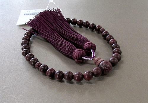 ◆女性用片手念珠 パープルハート共仕立 正絹頭房 桐箱入