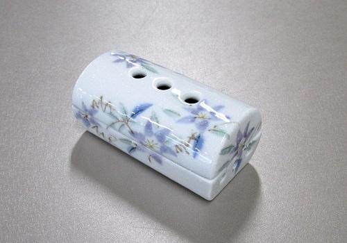 ◎美濃焼筒型香彩器 �N紫鉄仙