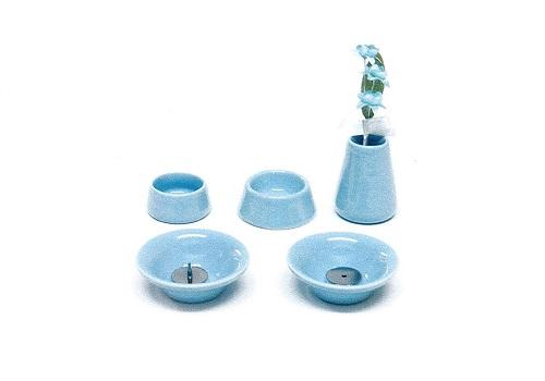 ◇ペット用 オモイデノアカシ 仏具8点セット 陶器BL