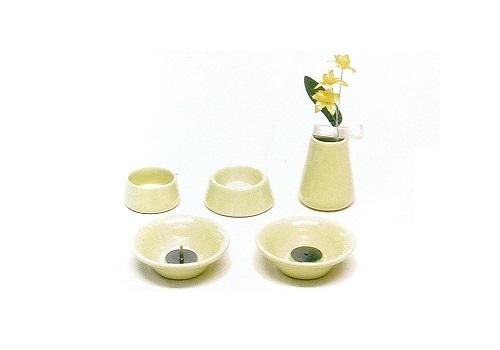 ◇ペット用 オモイデノアカシ 仏具8点セット 陶器YE