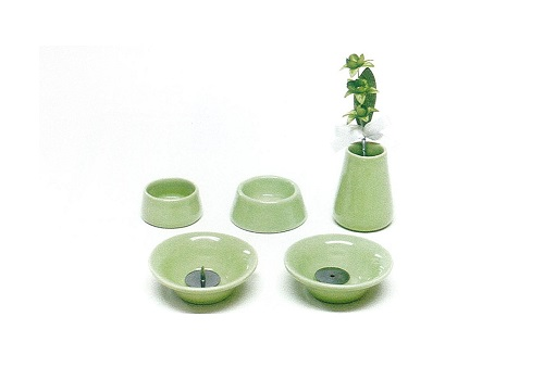 ◇ペット用 オモイデノアカシ 仏具8点セット 陶器GR
