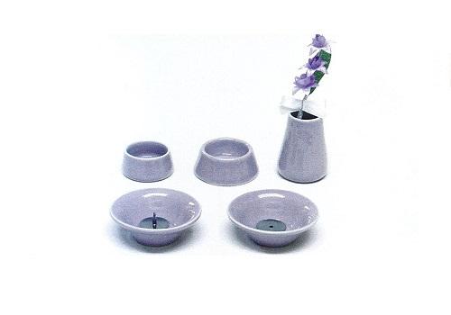 ◇ペット用 オモイデノアカシ 仏具8点セット 陶器VI