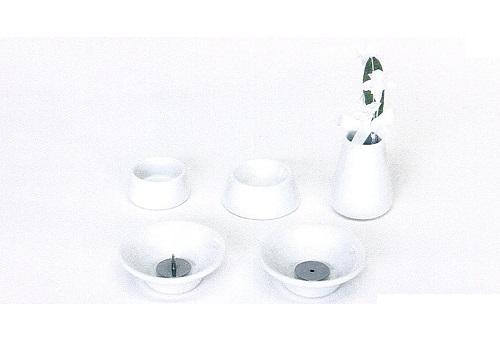 ◇ペット用 オモイデノアカシ 仏具8点セット 陶器WH