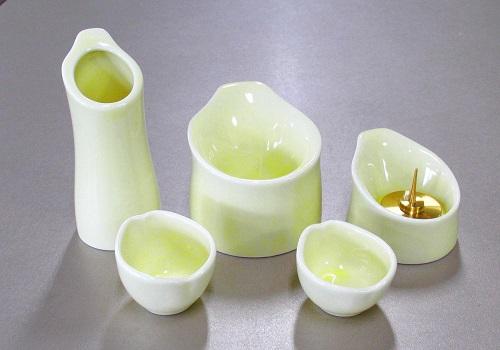 ◆くらら5点セット(陶器製) クリームイエロー