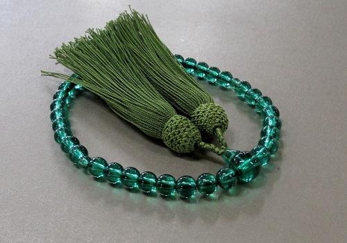 ◆女性用片手念珠 PCグリーン共仕立 正絹頭房