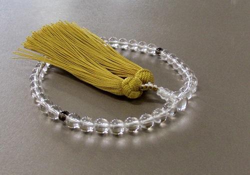 ○女性用片手念珠 水晶2天茶水晶仕立 正絹頭房