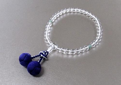 ◆女性用片手念珠 水晶2天インド翡翠仕立 かがり梵天