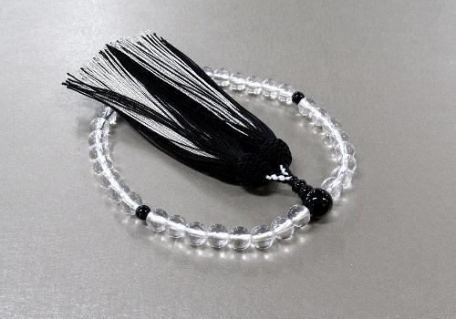 ○女性用片手念珠 水晶黒オニキス仕立 正絹二色房