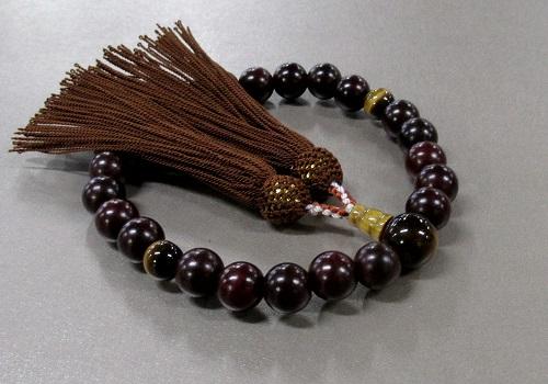 ◆男性用片手念珠 紫檀23玉虎目石仕立 人絹頭房