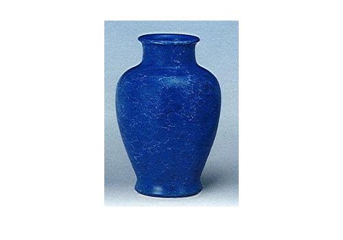 ◇花瓶・花立 大理石調夏目花瓶 尺0 ブルー 一対(2本)入