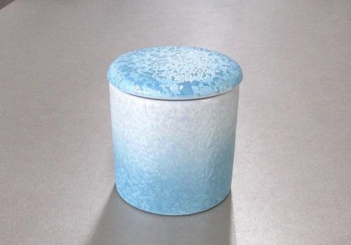 ◇骨壺・骨壷 シリコン付骨カメ 2.0寸 ラスターブルー