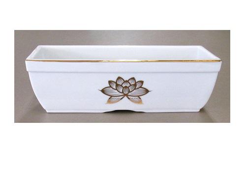 ◆長角香炉 6.0寸 白上金ハス×1カートン(10ヶ入)