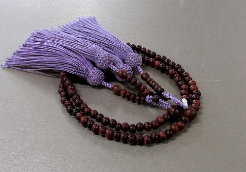 ●8寸振分 素挽紫檀 共仕立 正絹頭房 桐箱入